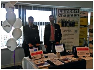 Picture or Chris Harman and Chris Maher from Lambert Chapman LLP exhibit at Colchester Landlord Investment Show.